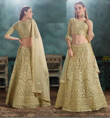 Beige Net Party Wear Lehenga With Beige Choli And Beige Dupatta