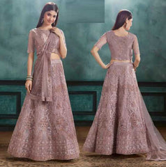 Lavender Net Party Wear Lehenga With Lavender Choli And Lavender Dupatta