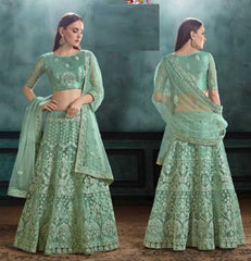 Green Net Party Wear Lehenga With Green Choli And Green Dupatta