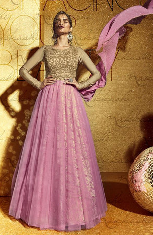 Pink,Net,Heavy designer party wear anarkali suits