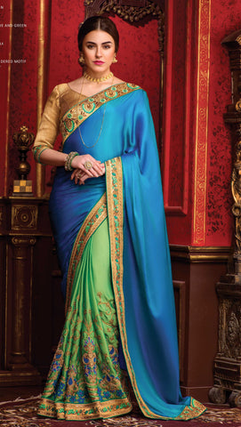 Blue , Green,Silk,Party wear designer saree