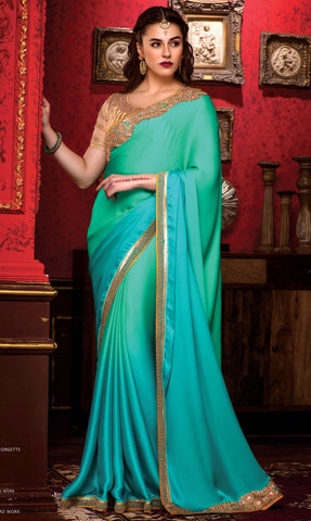 Cyan,Georgette,Party wear designer saree