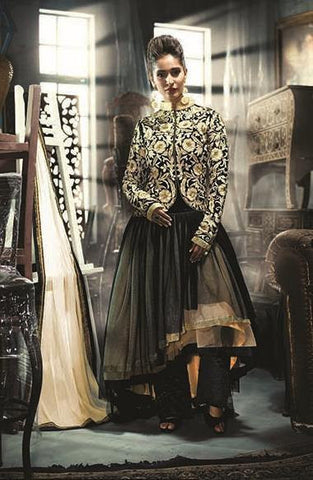 Black,Net,Designer long anarkali heavy suits