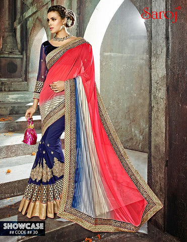 Pink , Blue,Net,Heavy designer saree with heavy embroidery work on blouse