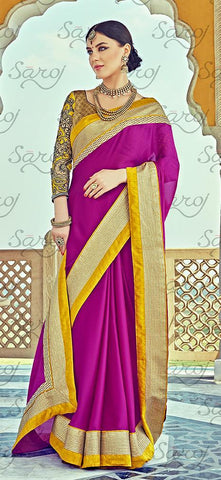 Purple,Satin chiffon,Party wear designer embroidery work saree