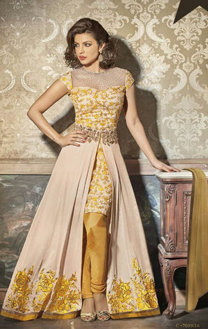 Beige , yellow,Georgette,Party wear designer suits