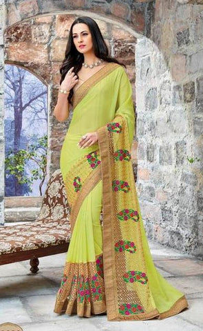 Green,Chiffon,Party wear designer saree