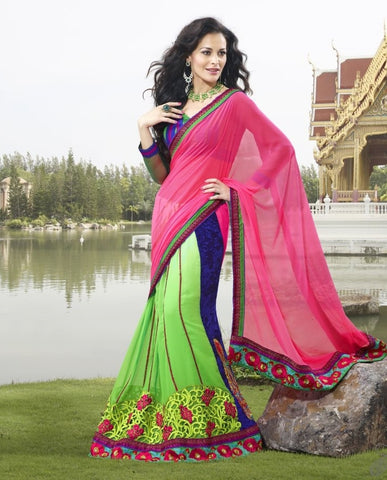Green Chiffon Saree with embroidery and handwork