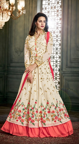 White ,Georgette,Anarkali Suits