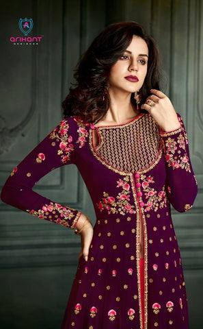Georgette Purple Full Length Anarkali Dress With Dupatta