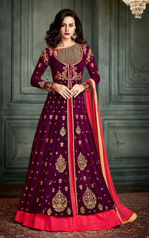 Purple , Red,Georgette,Anarkali Suits