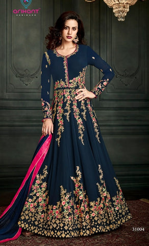 Blue,Georgette,Anarkali Suits