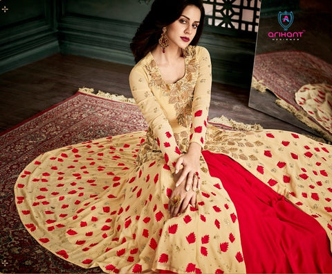 Beige and Red Jacket Style Anarkali With Dupatta