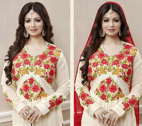 Georgette,Cream & red,Heavy designer suits