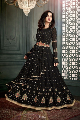 Black Gown Style Anarkali With Dupatta