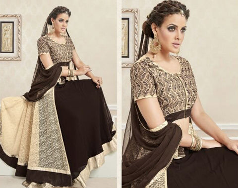 Georgette,Brown,Heavy designer suits