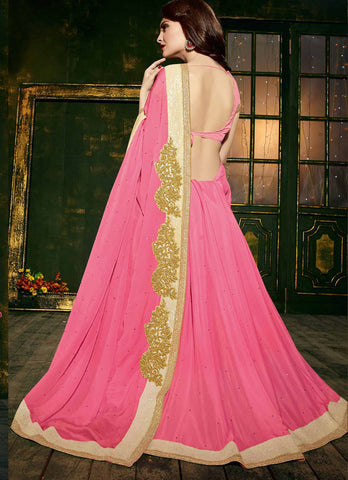 Chiffon,Pink  ,Party wear designer saree