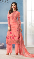 Peach Georgette Printed Salwar Suit With Peach Dupatta
