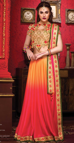 Orange , red,Chiffon,Party wear designer saree