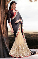 Black and Beige Half Crepe Silk and Net Saree with Heavy embroidery