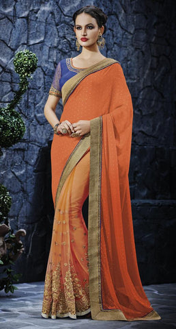 Orange,Georgette,Heavy designer saree with heavy embroidery work
