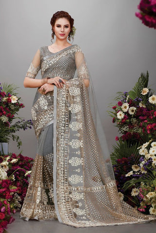 Grey Net Party Wear Saree With Blouse