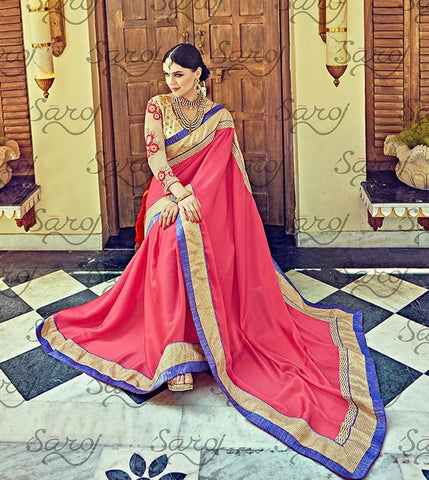 Pink,Satin chiffon,Party wear designer embroidery work saree