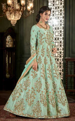 Sea Green Silk Party Wear Fusion Style Anarkali Dress With Sea Green Dupatta