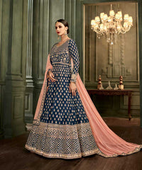 Blue Silk Party Wear Anarkali Suit With Peach Dupatta