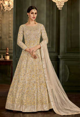 Off White Silk Party Wear Anarkali With Off White Dupatta