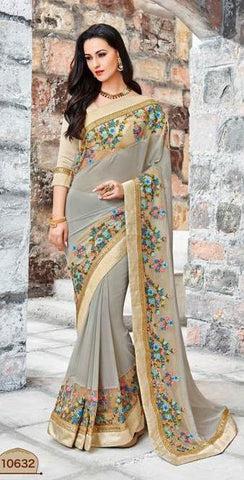 Grey,Georgette,Party wear designer saree