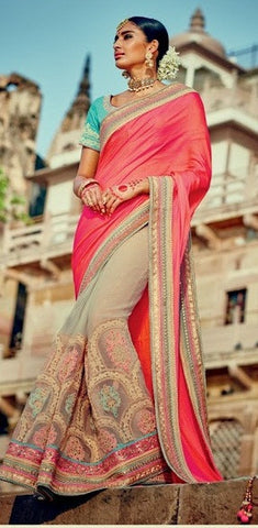 Peach , Beige,Georgette,Heavy designer saree