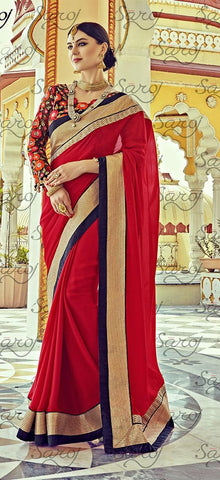 Red,Satin chiffon,Party wear designer embroidery work saree