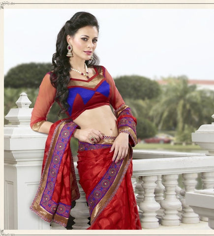 Red Jacquard Saree with embroidery and handwork