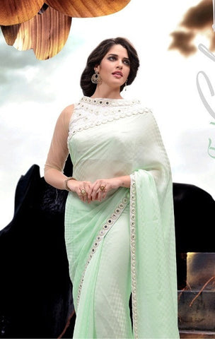 Light Cyan color Saree with embroidery and lace border in  below 4000