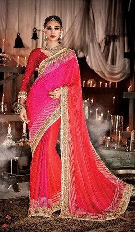 Red , Pink,Satin,Heavy designer bridal saree for wedding
