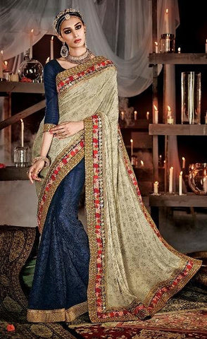 Blue , cream,Silk,Heavy designer bridal saree for wedding