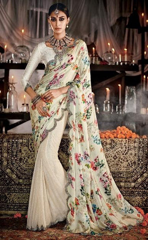 White,Satin,Heavy designer bridal saree for wedding