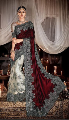 Maroon ,Velvet,Heavy designer bridal saree for wedding