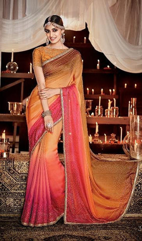 Orange , Pink,Satin,Heavy designer bridal saree for wedding