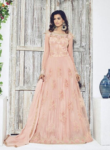 Peach,Net,Heavy designer anarkali suits