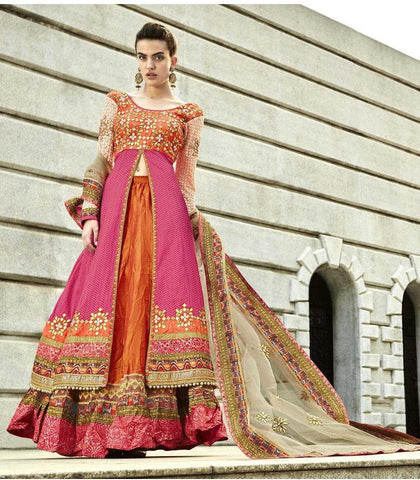 Pink , Orange,Jaquard,Heavy party wear designer anarkali suits