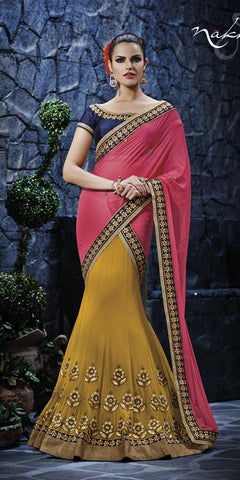 Pink,Georgette,Heavy designer saree with heavy embroidery work