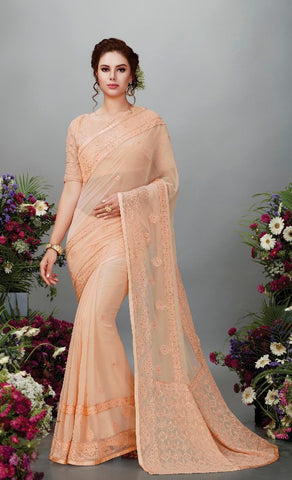 Peach Georgette Party Wear Saree With Blouse