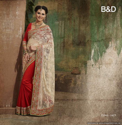 Beige and Red Jacquard Saree with hand work and Embroidery