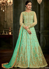 Green Silk Party Wear  Anarkali With Green Dupatta