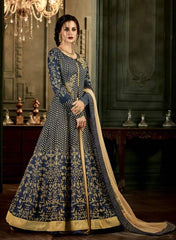 Blue Silk Party Wear  Anarkali Suit With Blue Dupatta