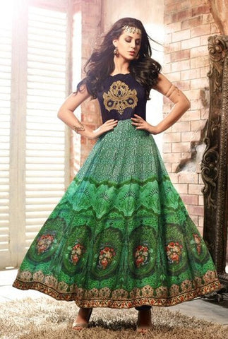 Green,Satin,Party wear designer anarkali suits