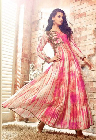 Pink,Banarasi Silk,Party wear designer anarkali suits