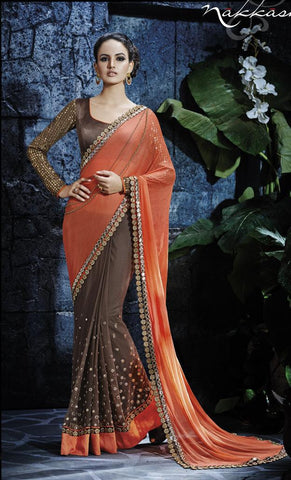 Brown,Chiffon,Heavy designer saree with heavy embroidery work